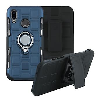 For Huawei P20 Lite 3 In 1 Cube PC + TPU Protective Case with 360 Degrees Rotate Silver Ring Holder(Navy Blue)