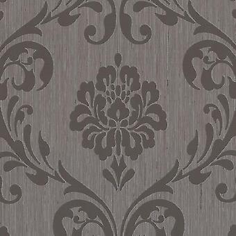 Erismann brown Vinyl embossed damask wallpaper