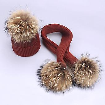 Real Raccoon Knitted Hat Scarf Set With Fur, Pompom Ball Caps