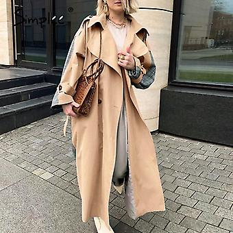 Simple Casual Lapel Femmes Double Breasted Stitching Plaid Trench Coat
