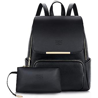 Women Backpack,COOFIT Womans Black Leather Backpack for Girls Schoolbag