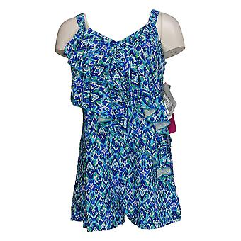Fit 4 U Swimsuit Diagonal Ruffle Romper Boy Shorts Print Blue A376262