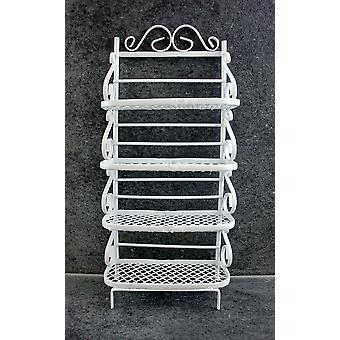Dolls House Meubles miniatures White Wire Wrought Iron Bakers Rack Shelf Unit