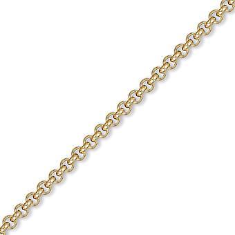 Jewelco London miesten vankka 9ct keltainen kulta pyöreä Belcher 4.8 mm mittari ketjun kaula koru