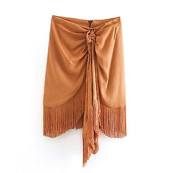 Femmes Solid Knotted Hem Tassel, Casual Slim Skirt, Ladies Back Zipper, Chic