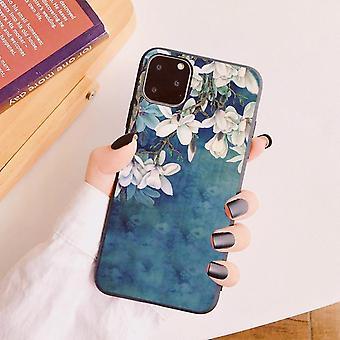 iPhone 12 Pro Max shell blauw wit mooie bloemen siliconen