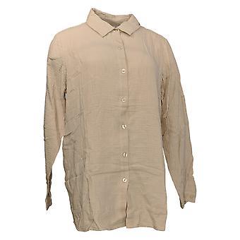 Joan Rivers Classics collectie vrouwen ' s top Crinkle textuur beige A351489