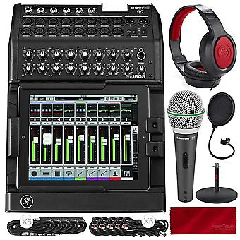 Mackie dl1608 ipad-controlled 16-channel digital live sound mixer with lightning connector with samson headphones, dynamic microphone,