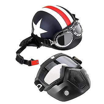 Motorcycle helmet with goggles visor scarf touring for harley +mask detachable and mouth filter open face