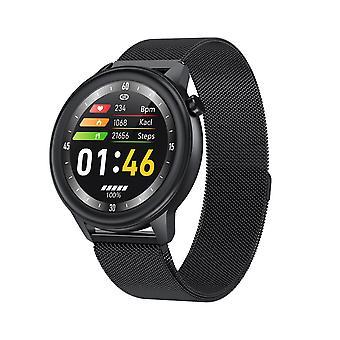 Montre intelligente pour unisexe, fréquence cardiaque et moniteur de pression artérielle pour Android IOS-Black1