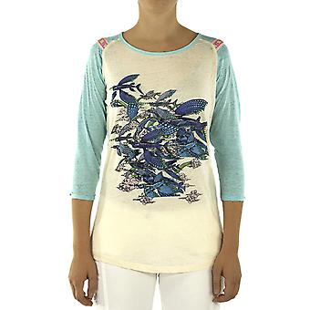 Custo Barcelona Women T-shirt Less Fly Away Multicolor