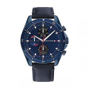 Tommy Hilfiger PARKER 1791839 Herenhorloge - Blauwe leren armband