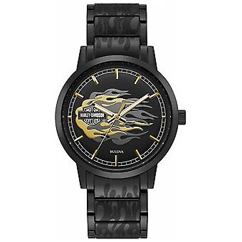 Harley Davidsons | Svart stål armband | Svart urtavla 78A121 Klocka