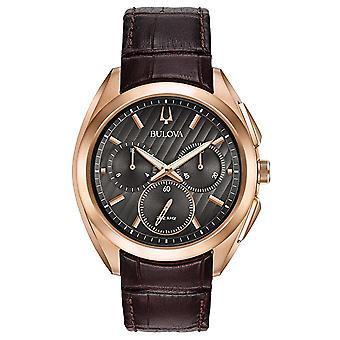 Bulova Curv Chronograph Leather Mens Watch 97A124