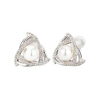 Traveller Clip Earring - 10mm White Pearl - Rhodium Plated - 114175 - 696