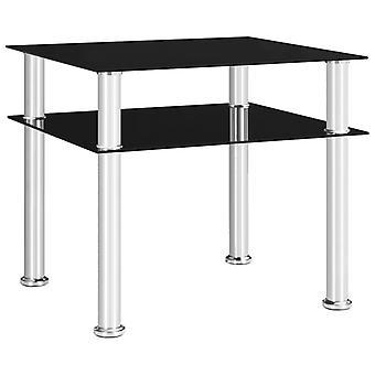 vidaXL Sivupöytä Musta 45x50x45 cm Karkaistu lasi