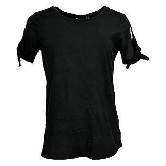 Vrouwen met Control Women's Top Reg Curved Hem T-Shirt Zwart A308536