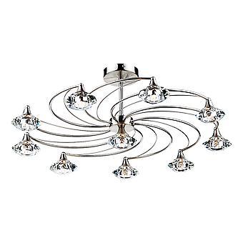 Półpłuskowe sufitowe światło satynowe chromowane kryształ, 10x G9