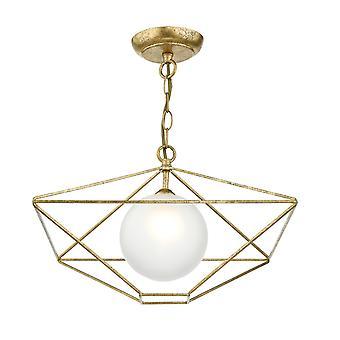 DAR ORSINI Wire Frame Vedhæng Light Antikke Gold Opal Glas Shade, 1x E14