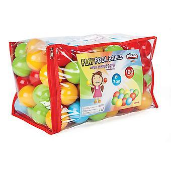 Pilsan Balbad 06410 100 kleurrijke spelballen 7 cm diameter in zak met handvat