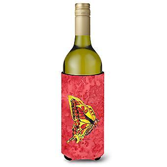 Schmetterling auf Rotwein Flasche Getränke Isolator Getränke isolator Hugger