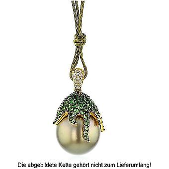 Luna-Pearls – Pearl Pendant with Tsavorite and Brilliant Yellow Gold 750 - Tahiti Cultured Pearl 13-14 mm 2040416