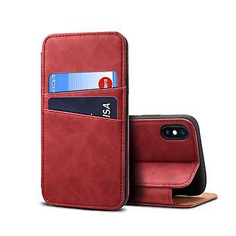 فتحة بطاقة حقيبة جلدية للآيفون x/xs5.8 جهاز كمبيوتر أحمر3612