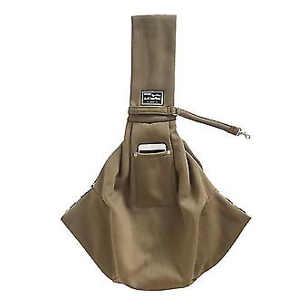 Beige pet cotton shoulder bagpet outing messenger bagwith adjustable padded shoulder strap x3821