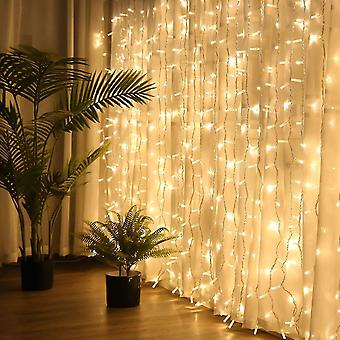 Brightown hanging window curtain lights dimmable & connectable with 300 led dt4442