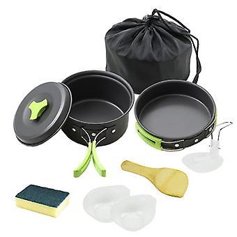 Camping outdoor kookset 9-delig – Aluminium Zwart & Groen