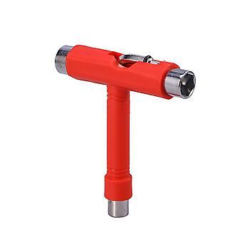 Mini T Typ Schlüssel Werkzeug Roller Skateboard Reparatur Werkzeug Einstellungswerkzeug mit L Schraubenschlüssel L-Typ Schraubendreher (rot)