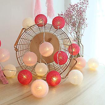 Girlande helle Baumwolle Ball, Innendekoration Weihnachten Deco, 3m 20er Led Globe Light, (usb 6cm rosa/rot)