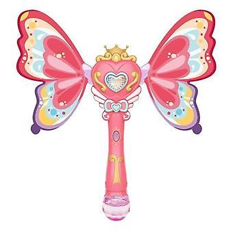 Mädchen Flügel Bubble Stick Fee Zauberstab Bubble Machine Automatische wasserdicht leuchtende Kinder (Pink)