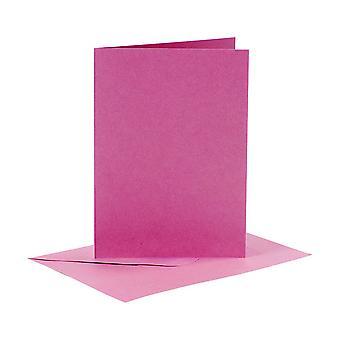 6 Cartões A6 rosas e envelopes para fazer artesanato de cartas | Cartão fazendo espaços em branco