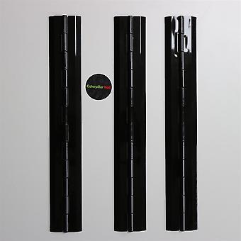 3 x 300mm ZWART, Continu acryl pianoscharnieren,