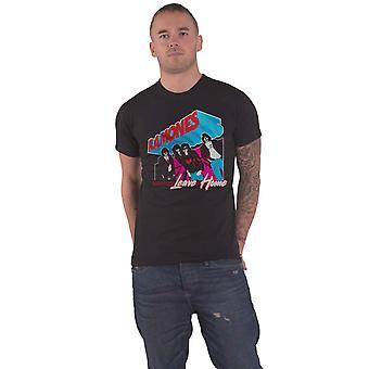 Ramones T shirt lämna Home band logo nya officiella mens svart