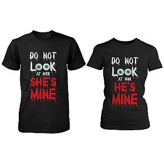 Grappige Halloween Horror Night paar Shirts - kijk niet in de mijne