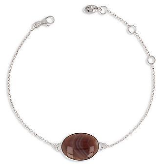 ADEN 925 Sterling Silver Brown Agate Bracelet (id 4066)