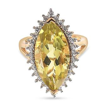 TJC Green Gold Quartz Halo Ring in Gold Plated Silver White Zircon 19ct(Q)