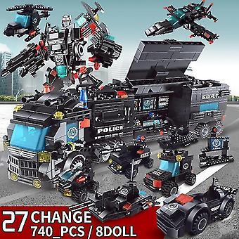 Wieloczęściowe klocki z mini figurkami robotów i klockami zabawkowymi policji miejskiej