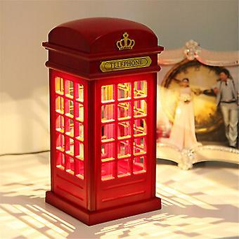 מכירה חמה מתכווננת רטרו לונדון טלפון תא לילה אור USB סוללה כפולה לשימוש Led ליד המיטה מנורת שולחן