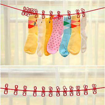 Outdoor Windproof Clothes Line 12 Clamp Clip Socks Underwear Clothing Holder