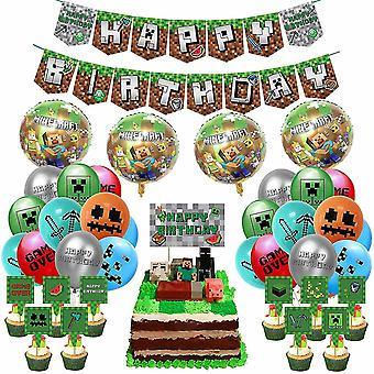 Party Spiele Pixel Stil Geburtstag Party Zubehör Game Party Enthalten Pixel Spiel Happy Birthday Banner Kuchen Cosplay Geschenk