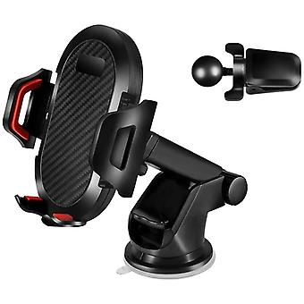 3-in-1 Car Phone Holder Windshield Vent 360rotating Long Powerful Suction Cup Arm For Phone Holder