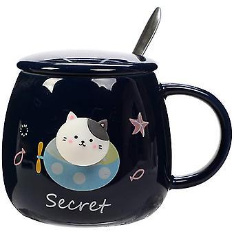 Cute Cat Mug, Creative Ceramic Coffee Mug Set, 13.5 Oz Novelty Cartoon Big Belly Cup, Morning Tea Cup Milk Mug