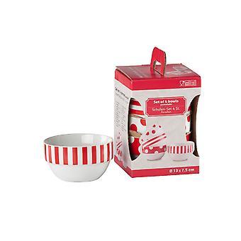 Rød/hvid sæt af 4 skåle porcelæn til servering Snacks suppe korn