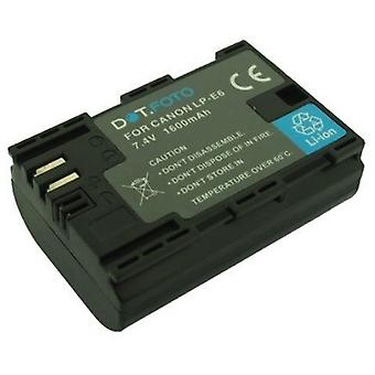 Dot. Foto LP-E6 PREMIUM erstatning oppladbart kamera batteri for Canon-7.4 v/1600mAh [se beskrivelse for kompatibilitet]
