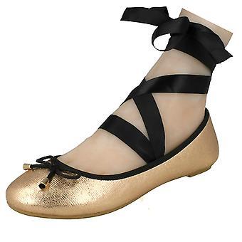 Ladies Spot On Tie Up Leg Ballerina Shoes F80274