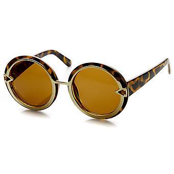 جولة كبيرة الحجم النسائي معدني تقليم صيحات الموضة النظارات الشمسية