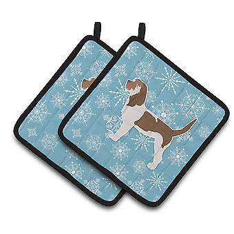 Winter Snowflake Grand Basset Griffon Vendeen Pair of Pot Holders